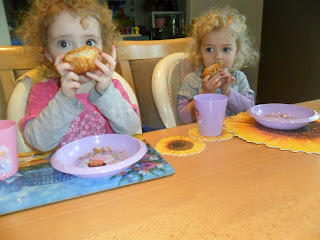 Eating strawberry muffins