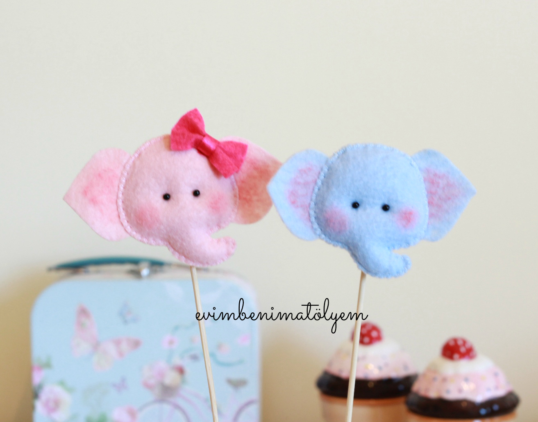 keçe çubuklu bebek şekeri fil