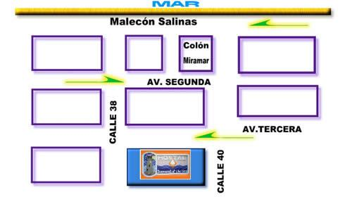 mapa del Hotel Diamond of the Sea Hoteles en Salinas