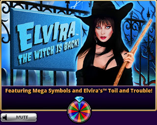 Loading screen for Elvira the Witch is Back slots at Hit It Rich at Hit It Rich