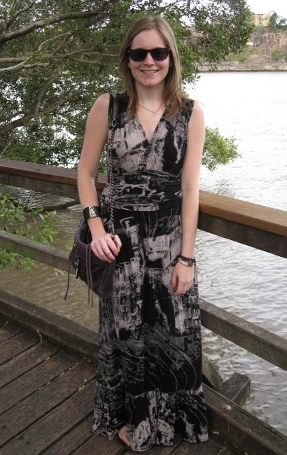 Asos black and white maxi dress and sandals rebecca minkoff mac bag