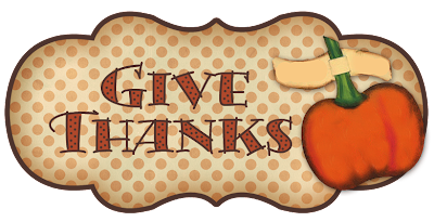 give thanks tag for Thanksgiving decor with pumpkin
