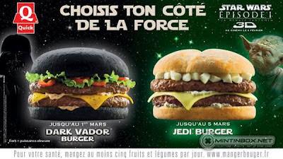 Cartaz dos sanduíches em homenagem ao filme Star Wars 3D