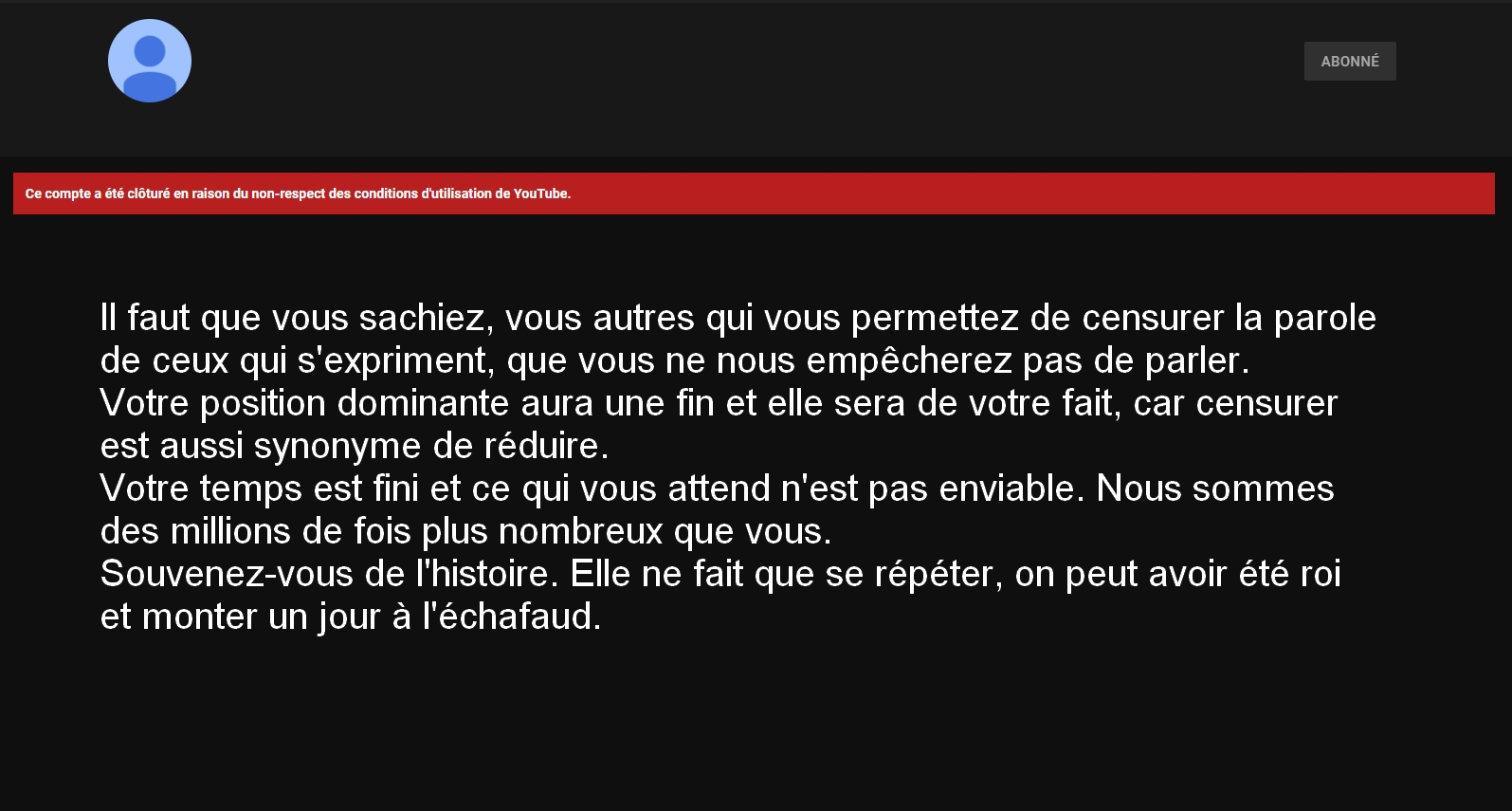 A l'attention de Youtube et autres du même acabit