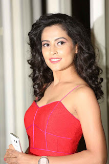 Disha Pandey smiling beauty in sizzling Red Tank Top Short Dress at Ctrl C Movie Audio Launch