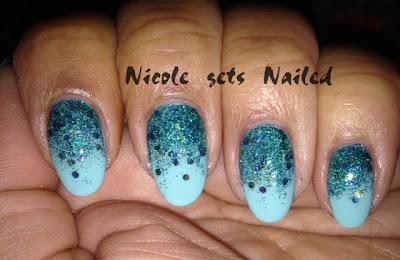 Blue Glitter Gradient Nail Art