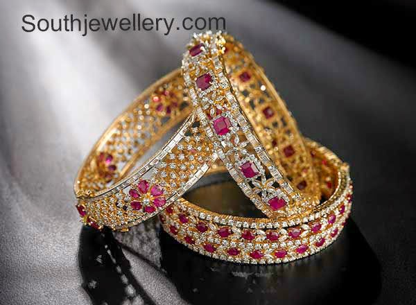 diamond ruby bangles set