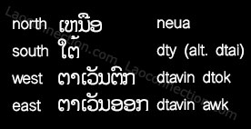 Lao language - cardinal directions north, south, west and east written in Lao and English