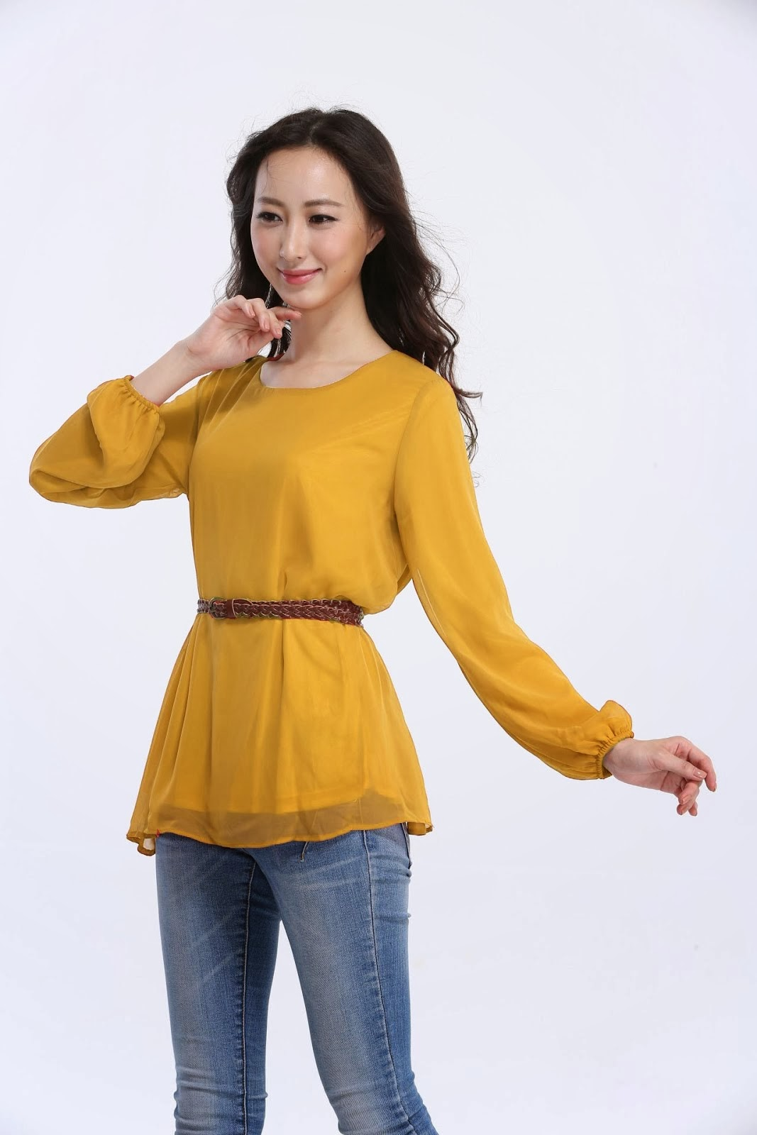 Chiffon Blouse With Belt