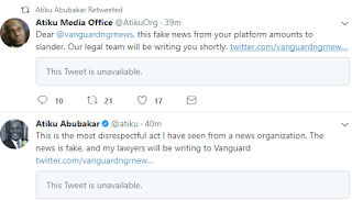 'This Is The Most Disrespectful Act I Have Seen ' – Atiku Threatens Vanguard Over 'Fake News'