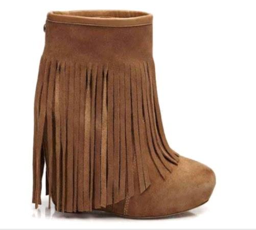 Wedge Fringe Boots