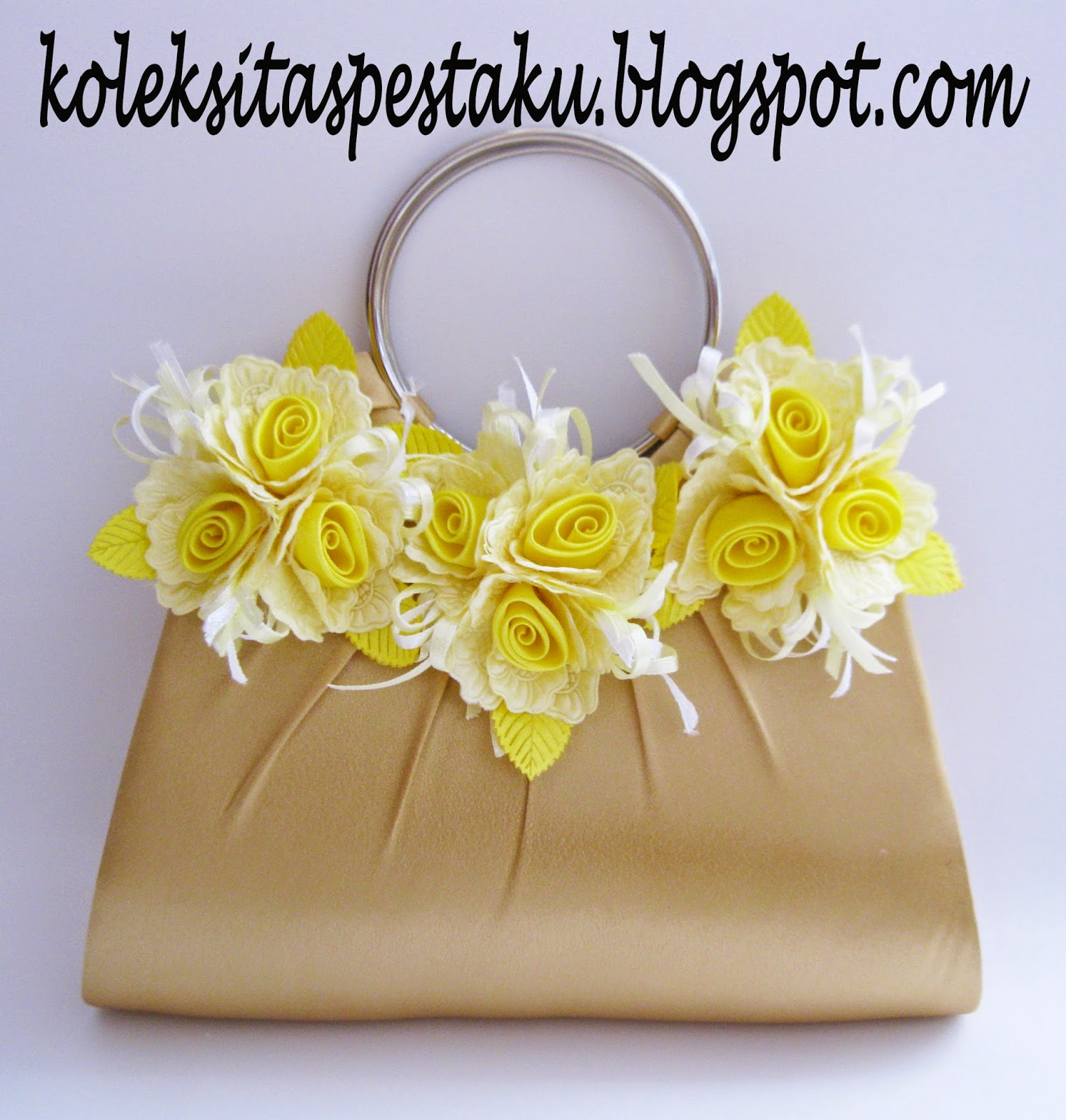 Clutch Bag Dompet Tas Pesta Gold Model Bunga Cantik Unik