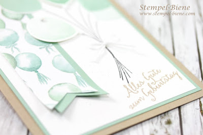 Stampin up Partyballons, stampin up Frühjahrskatalog 2014, Stampin up sale a bration 2016, stampin up Geburtstagskarte mit Partyballons, Stempel-Biene