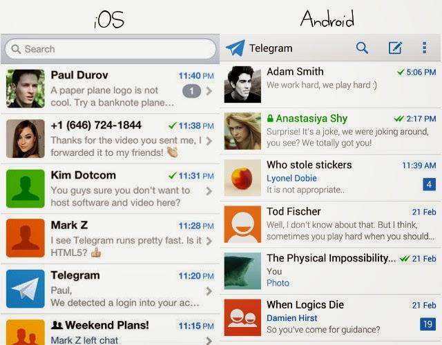 Telegram Messenger on ios android