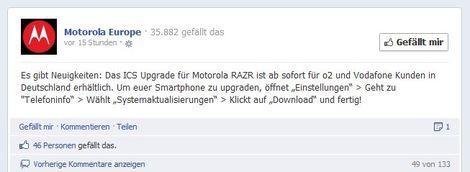 Motorola RAZR Android 4.0 Update