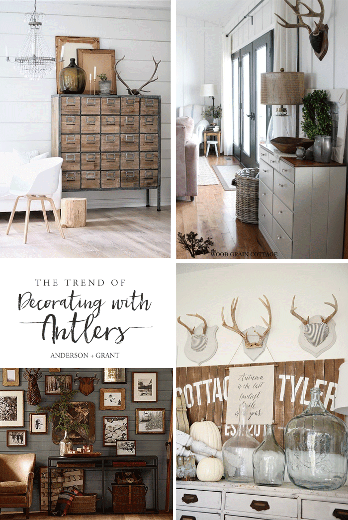 Is decorating with antlers a trend of something here to stay?  Check out this post with inspiration for including this look into your own decor.  ||  www.andersonandgrant.com
