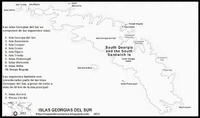 Mapa de ISLAS GEORGIAS DEL SUR, Antartida, blanco y negro, Google Maps