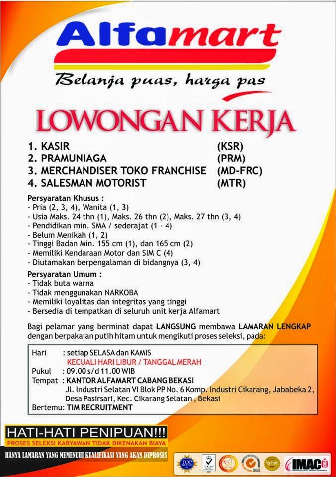 Kerja terbaru PT. Sumber Alfaria Trijaya (Alafamart) DC Cikarang