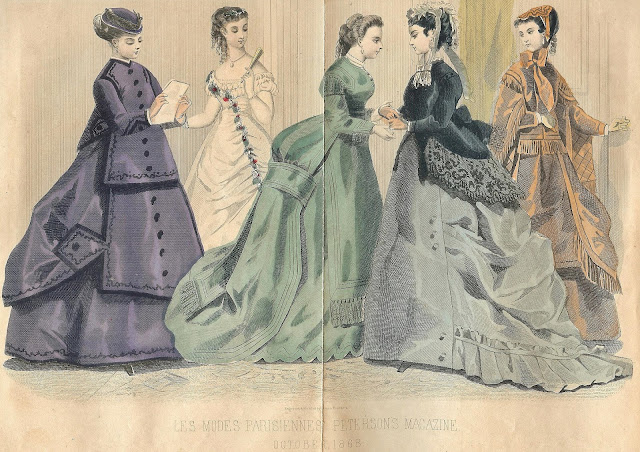 Antique French Fashion Gown Illustrations Royalty Free Graphics via Knick of Time