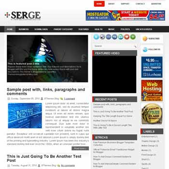 Serge style blog template. template image slider blog. magazine blogger template style. 3 column footer blogger template
