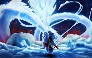 Sesshomaru Anime White Long Hair Dragon HD Wallpaper Desktop PC Background 1333