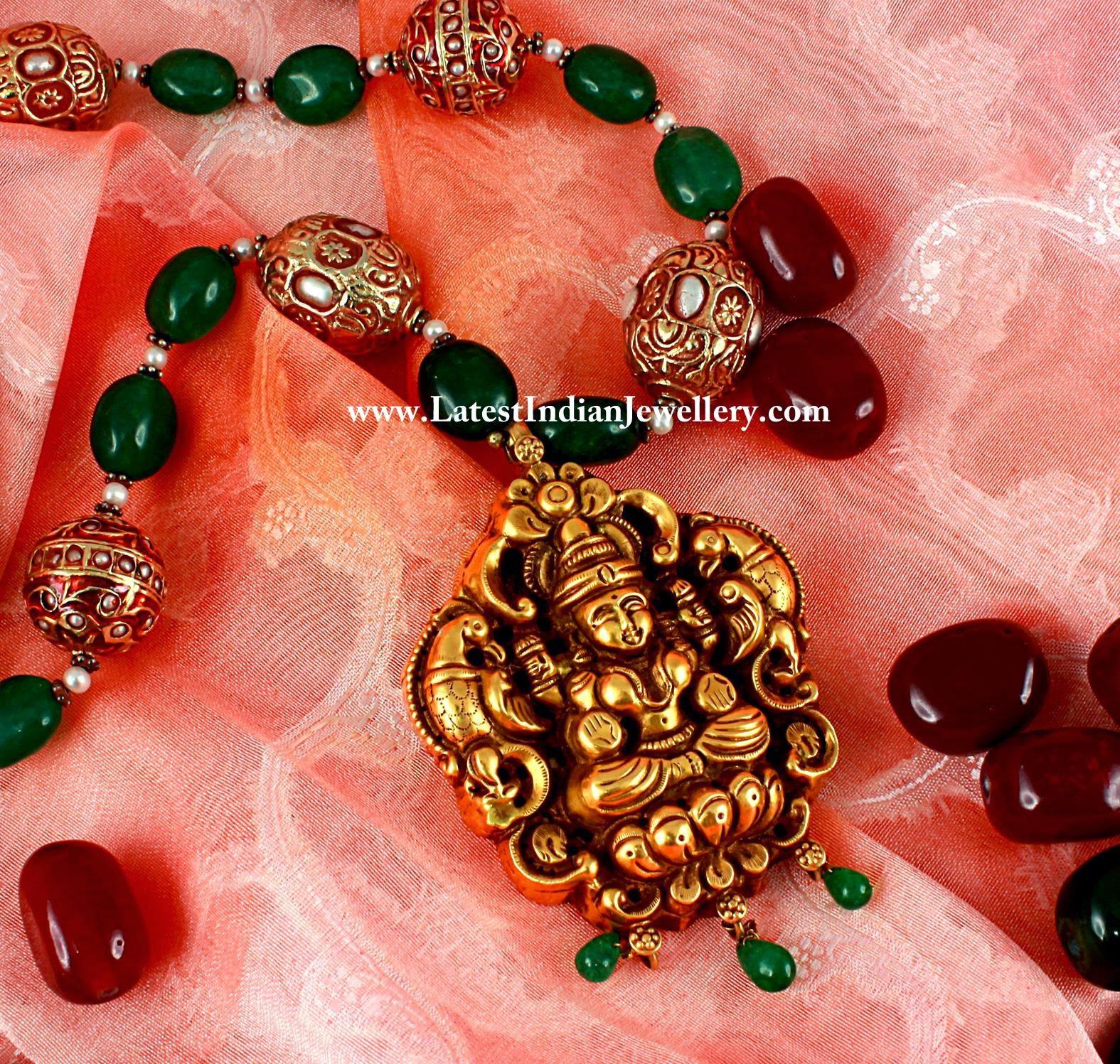 Emerald Beads Lakshmi Pendant