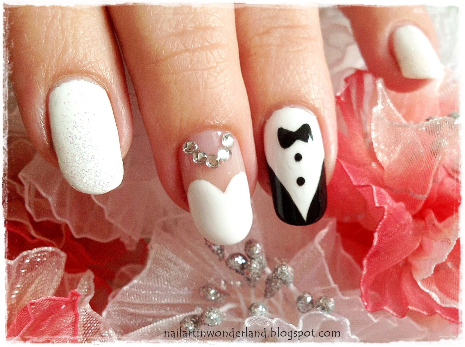 Gelin Damatlı Düğün Tırnak Süslemesi / Wedding Nail Art with Bride and Groom