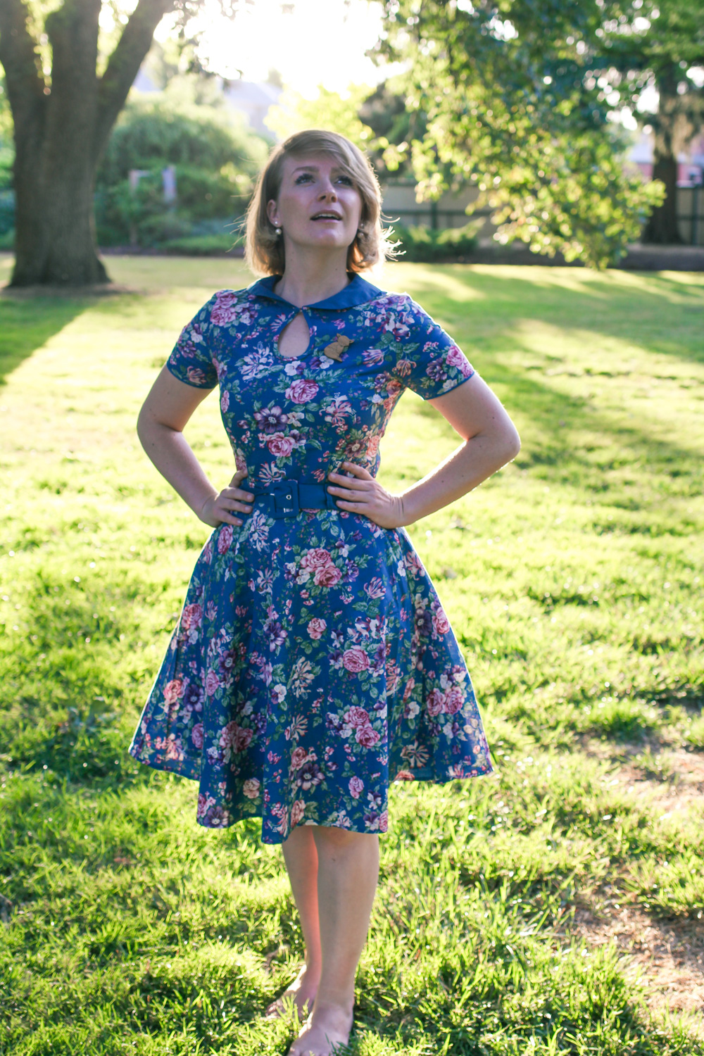 @findingfemme wears Dolly and Dotty blue floral dress at Ballarat Summer Sundays.