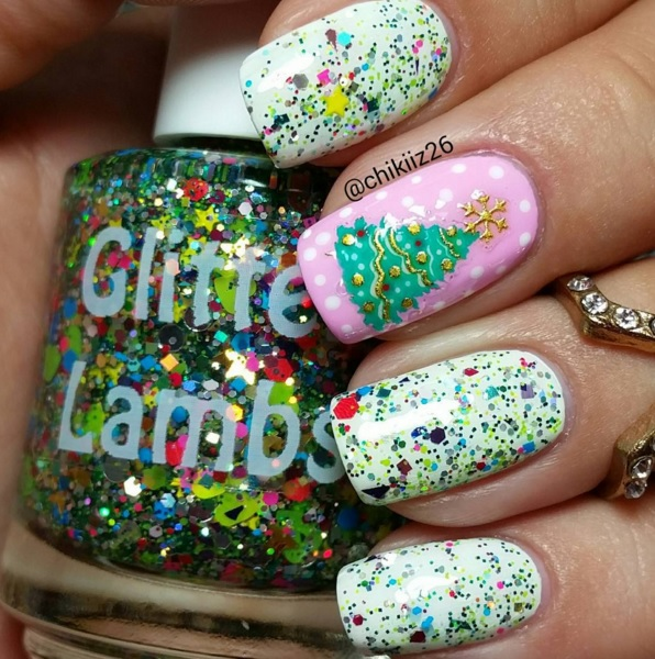 "Glitter Lambs ""Rockin Around The Christmas Tree""  Glitter Topper Nail Polish Worn By @Chikiiz26"