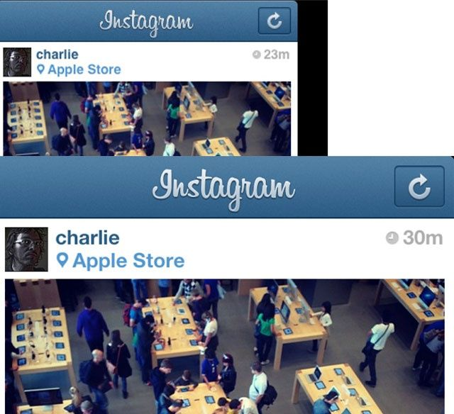 Image comparison of iPad mini and iPad 3, Instagram image on iPad mini and iPad 3