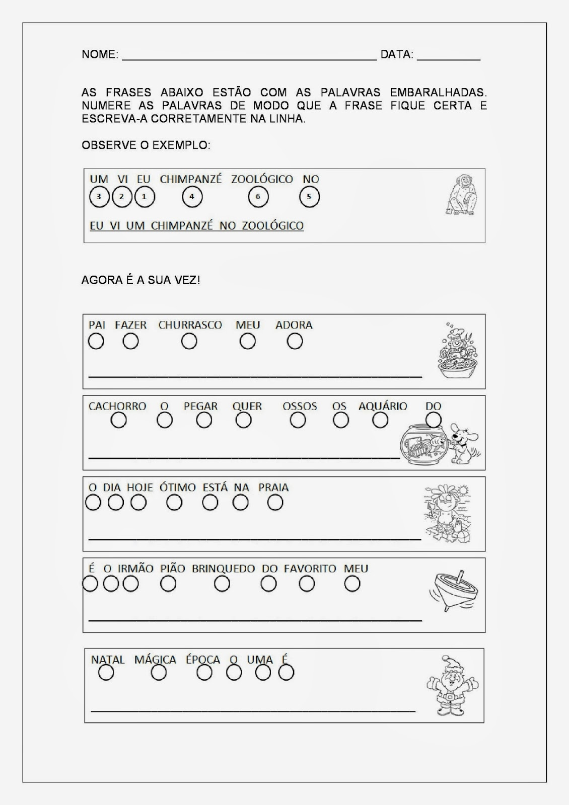 Alfabetização e Letramento - Formar Frases