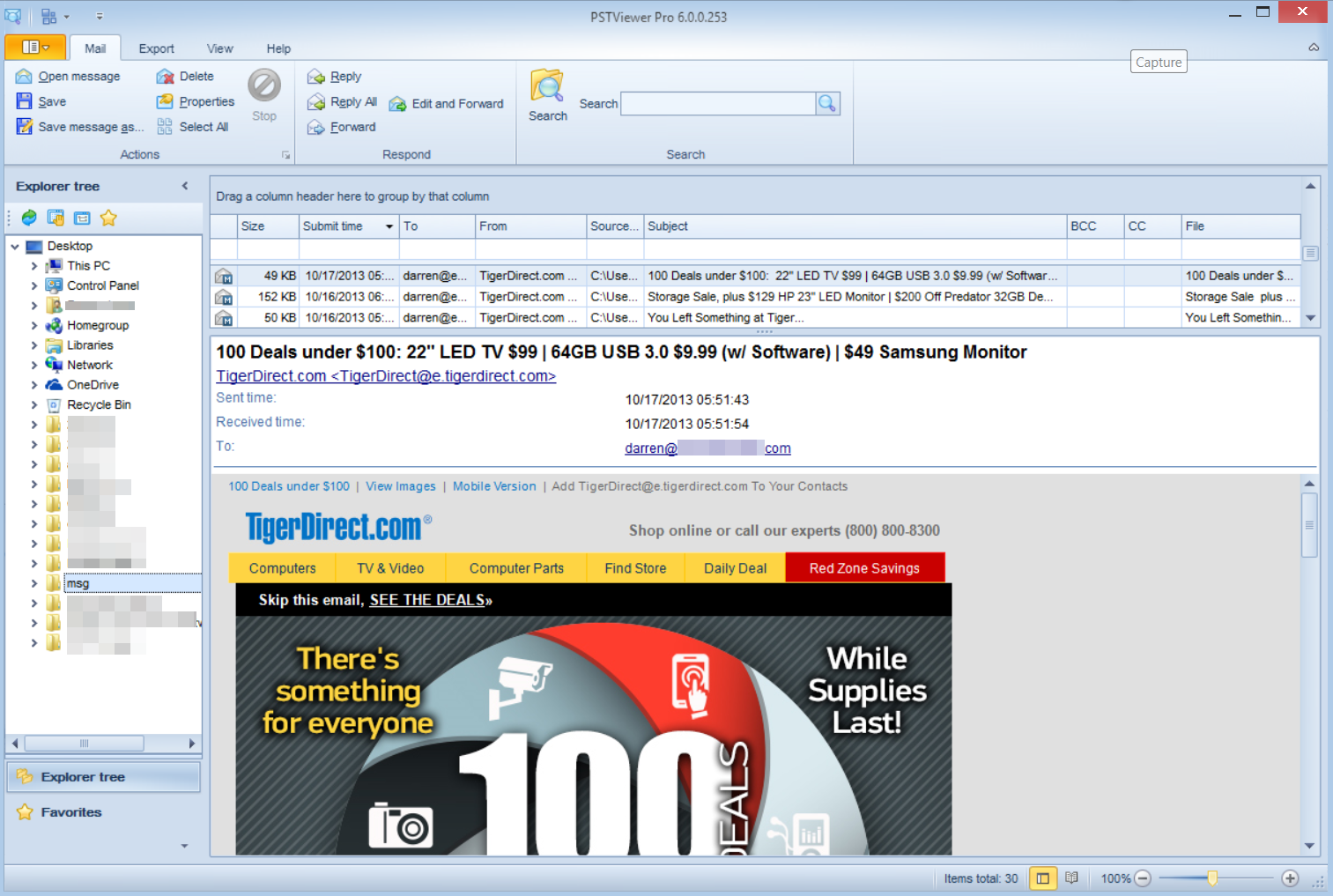 Updated PST Viewer Pro screen shot, showing new user interface for managing Outlook email content.