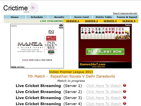 Catch Live Cricket match on Crictime.com | HotWebInfo