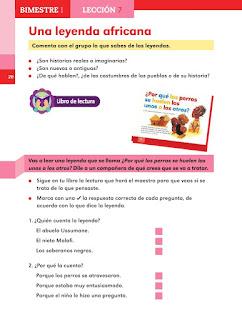 Apoyo Primaria Español 2do grado Bloque 1 lección 7 Una leyenda africana