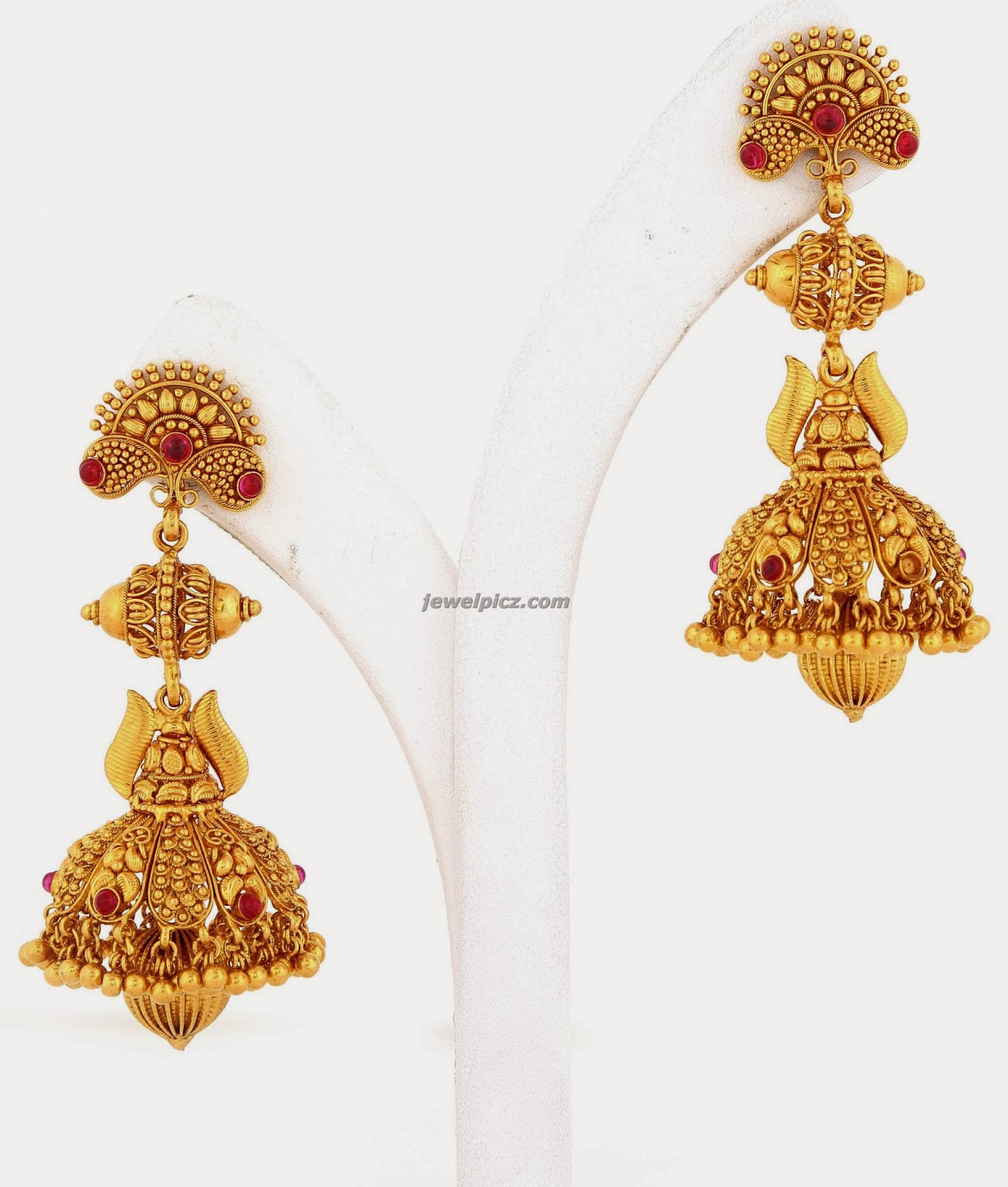 Jhumka earrings designs in gold ~ beautify themselves with earrings
