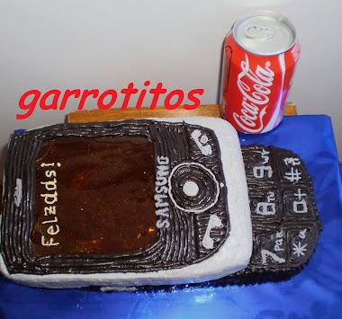 "tarta de móvil, con pantalla de ""cristal"""