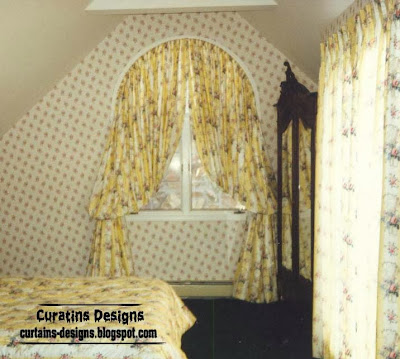 arched windows curtain ideas for classic bedroom