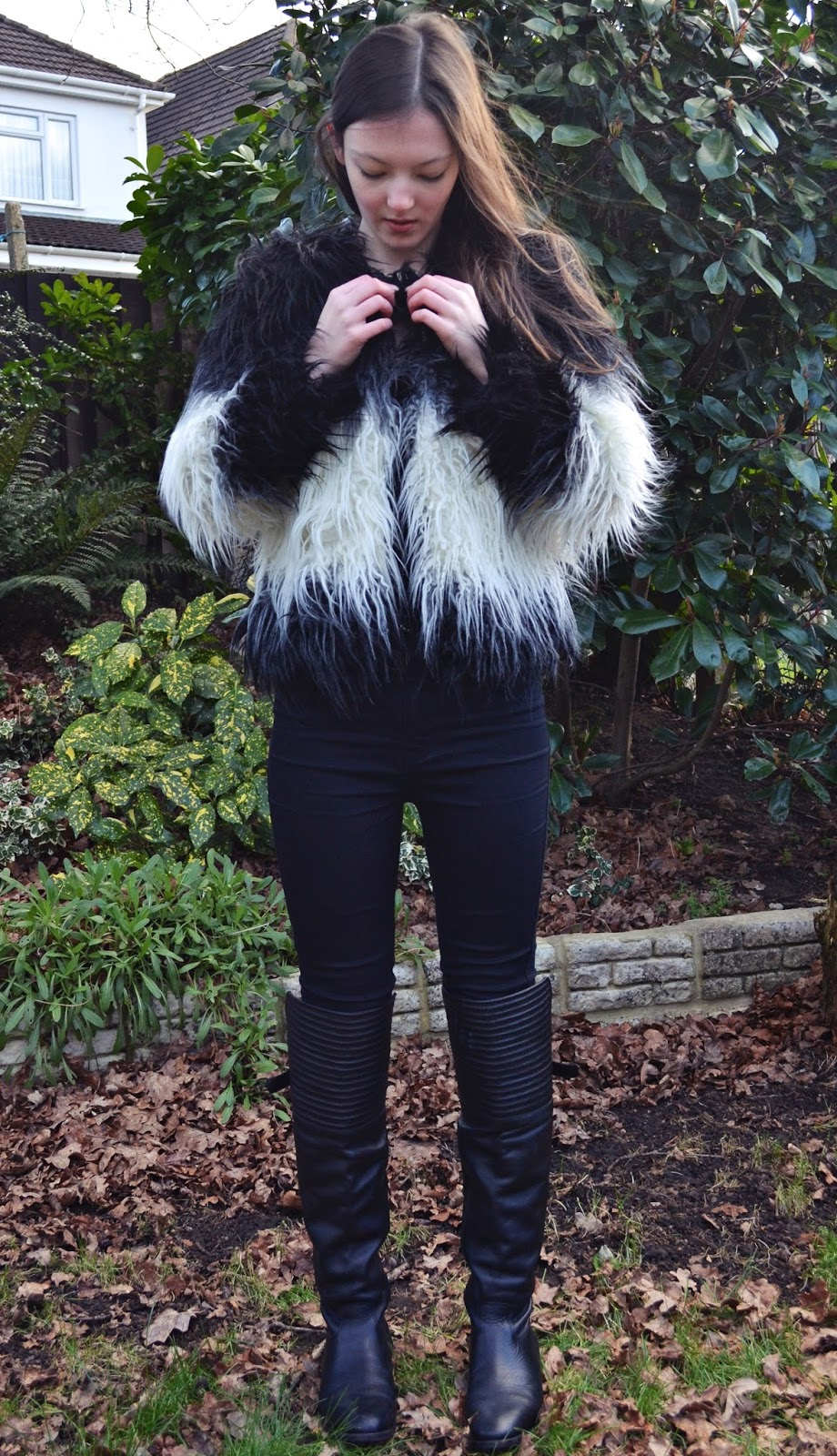 lunar look faux fur jacket boots