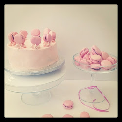 swt creation  pink rose macaron chocolate mud cake.