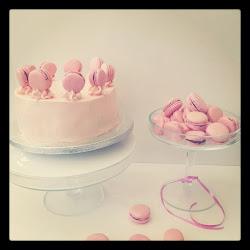 swt creation  pink rose macaron chocolate mud cake.