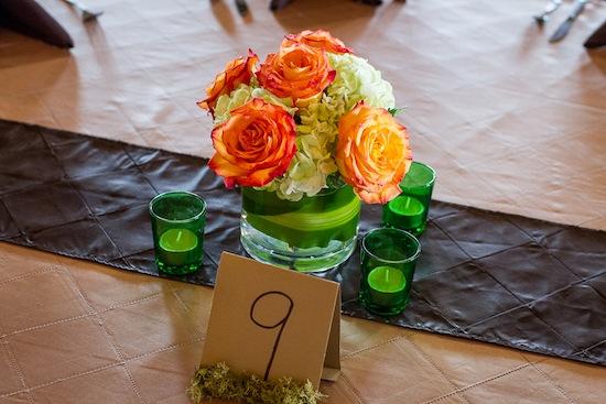 orange rose and hydrandgea centerpiece
