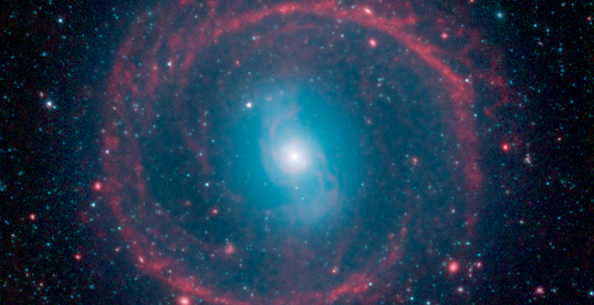 A new image from NASA's Spitzer Space Telescope, taken in infrared light, shows where the action is taking place in galaxy NGC 1291. The outer ring, colored red in this view, is filled with new stars that are igniting and heating up dust that glows with infrared light. Image Credit: NASA/JPL-Caltech