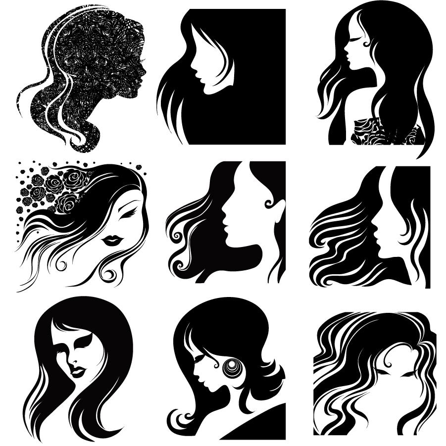 髪がなびく女性の横顔のシルエット female head silhouette イラスト素材