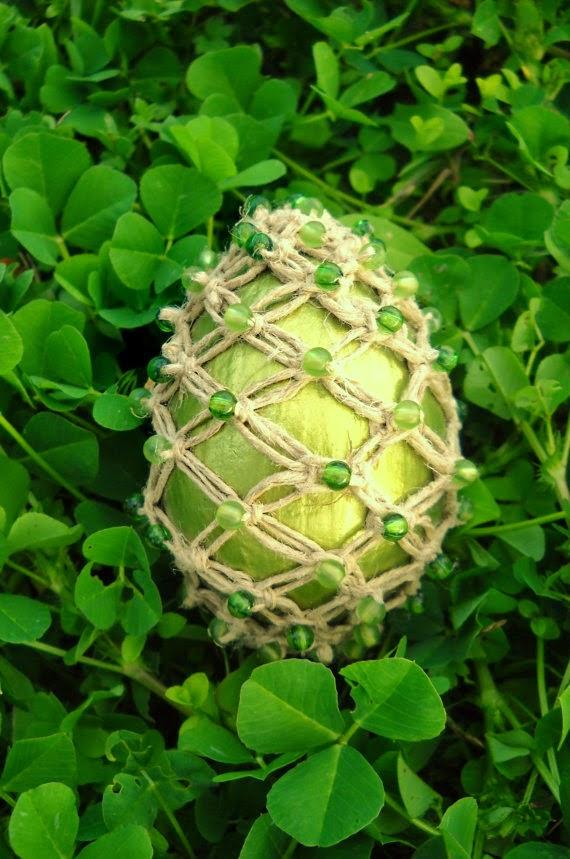 olive green macrame egg