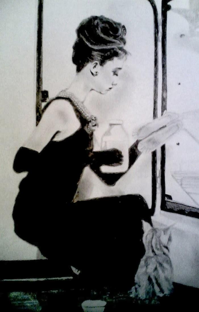 drawing audreyhepburn breakfastattyffanys movie
