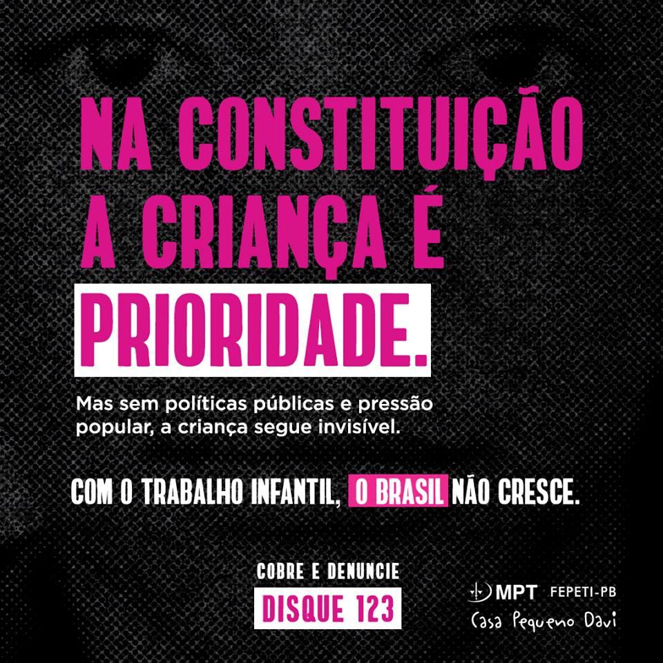 Com o Trabalho Infantil o Brasil não cresce