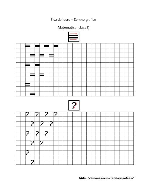 Cu Semne Grafice Pentru Matematica Fisele Au Dimensiunea A4 Succes
