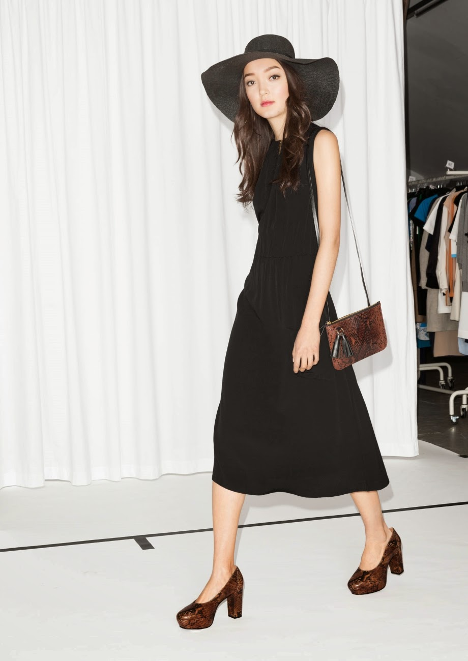 stories black pleat dress, black dress pleated,