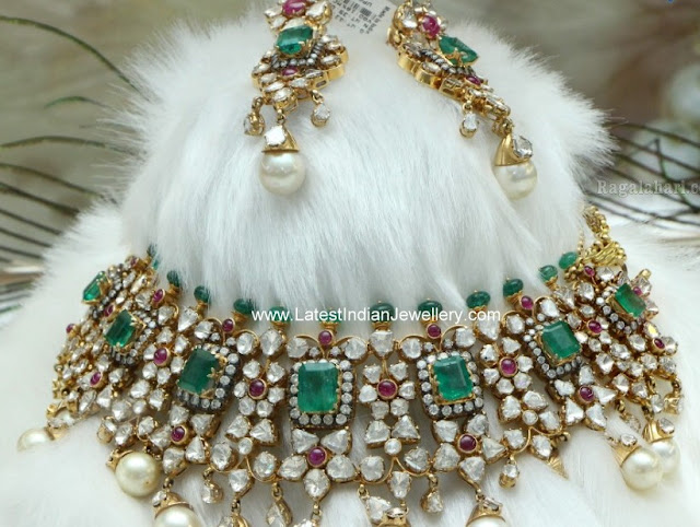 Polki Emerald Victorian Bridal Jewellery