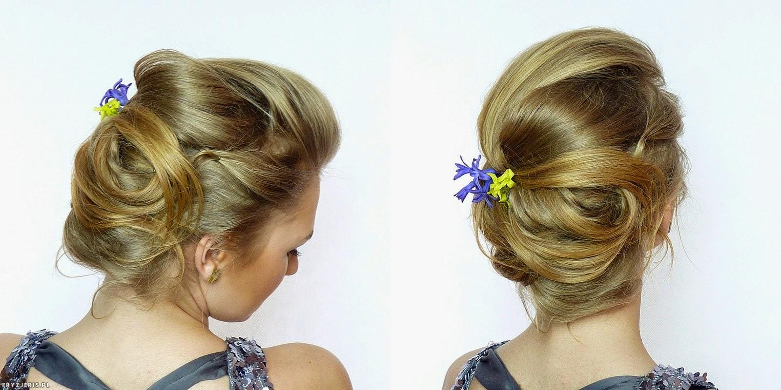 fryzury ślubne - upięcie z kwiatami 2